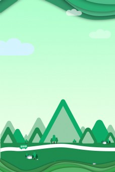 剪纸风端午节绿色简约背景