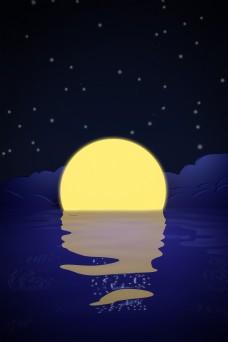 C4D夜晚明月水面背景