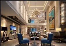 美式轻奢别墅loft效果图3D