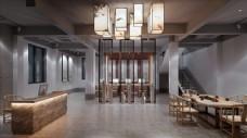 新中式办公室模型效果图