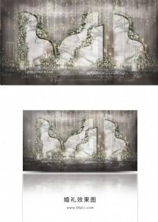 大理石纹简约婚礼工装效果图