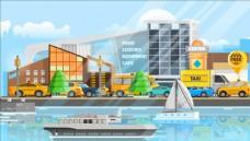 都市河流风景插画