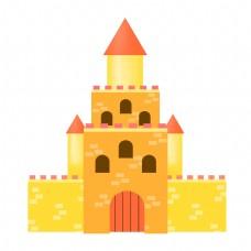 黄色的城堡建筑插画