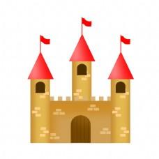 红色的城堡建筑插画