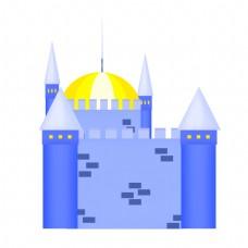 蓝色的建筑城堡插画