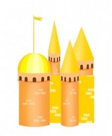尖尖的城堡建筑插画