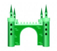 绿色的建筑城堡插画