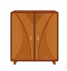 木质柜子卡通插画