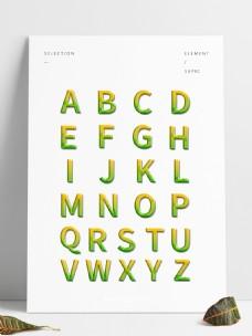 26个3D字母素材元素