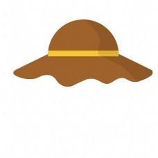 黄色帽子旅游出行小元素遮阳帽图标矢量素材