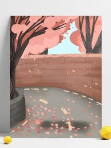手绘樱花园背景设计