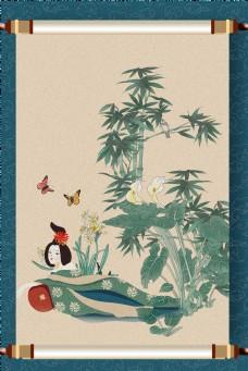 中国风花鸟仕女图深蓝色画卷