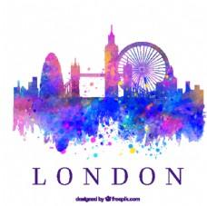水彩绘伦敦建筑剪影矢量