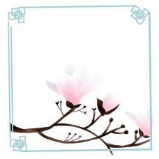 朱砂玉兰中国风花卉装饰画古风插画玉兰边框