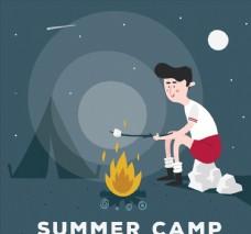夏季野营的男子