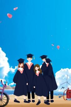 毕业季青春不散场背景素材