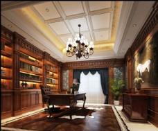 美式奢华书房效果图3D模型