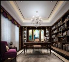 美式轻奢书房效果图3D模型