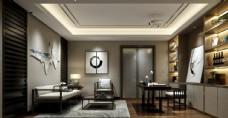 中式书房效果图3D模型