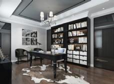 现代简约书房效果图3D模型