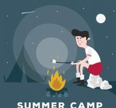 创意夏季野营男子