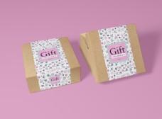 礼品礼物包装盒模板贴图样机