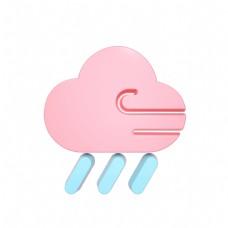 柔色天气类立体图标-狂风大雨