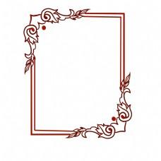 红色欧式边框插画