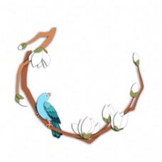 花鸟边框玉兰枝头