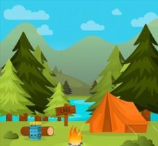 创意山林湖水野营风景