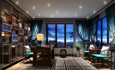 现代奢华书房效果图3D模型