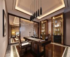 新中式书房效果图3D模型