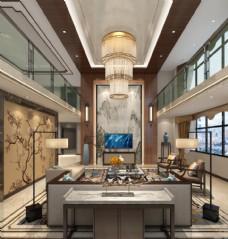 中式别墅客厅效果图3D模型