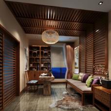 新中式茶室书房效果图3D模型