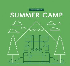 绿色2D风格野营背包招贴