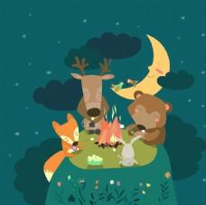 卡通小动物篝火晚会