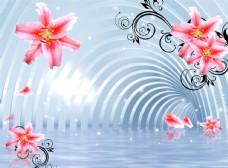 粉色百合花纹立体空间电视背景墙
