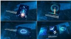 蓝色科技图文展示AE模版
