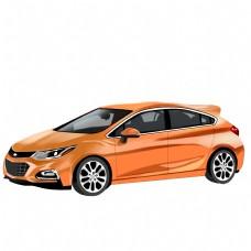 橘黄色时尚汽车插图仿真插图