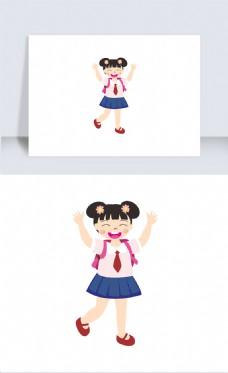 粉色校服卡通可爱女学生插画元素