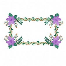 紫色花朵边框PNG