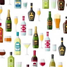 酒瓶酒杯平铺图