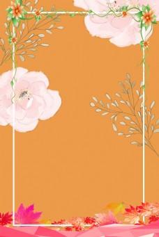 橙色新颖花朵背景图