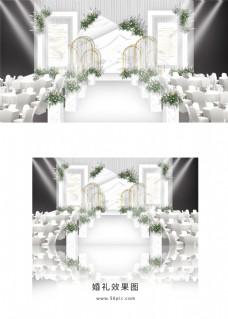 白色大理石几何简约婚礼舞台效果图