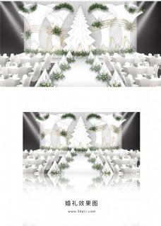 白色大理石简约婚礼舞台效果图