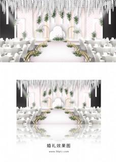 粉色唯美婚礼舞台效果图