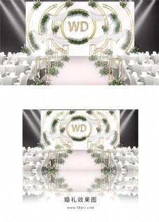 粉色大理石简约婚礼舞台效果图
