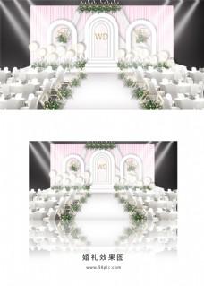粉色唯美简约婚礼舞台效果图