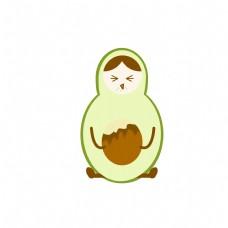 牛油果水果表情笑脸卡通可爱