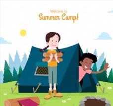 创意野营的男孩和女孩